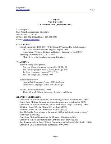 432 Temple St - East Asian Languages and Literatures - Yale ...