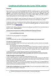 Conditions d'Utilisation des Cartes TOTAL Jubileo - total raffinage ...