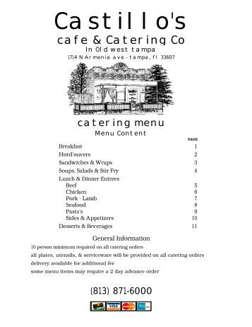 2011 Catering Menu - For Web Page - Castillo's Cafe