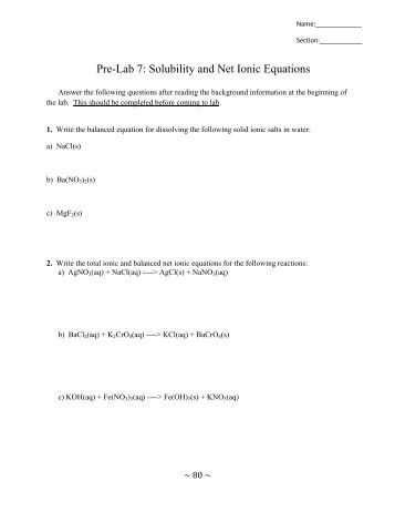Printables Net Ionic Equation Worksheet Answers net ionic equations pre lab 7 solubility and equations