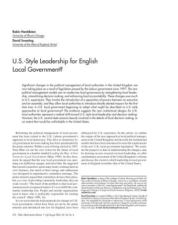 US-Style Leadership for English Local Government? - Urban Answers