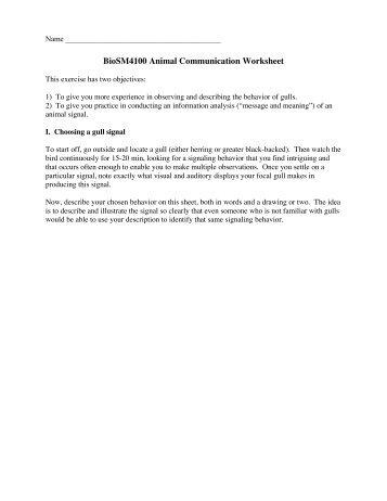 BioSM4100 Animal Communication Worksheet