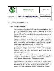 MANUAL KUALITI LATAR BELAKANG ORGANISASI - JPBD Selangor