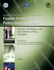 Fusion Center Privacy Policy Development - OJP Information ...