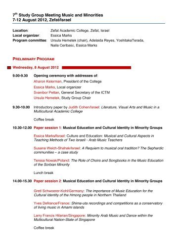 7th Study Group Meeting Music and Minorities 7-12 August 2012 ...
