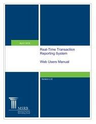 RTRS Web User Manual - Municipal Securities Rulemaking Board
