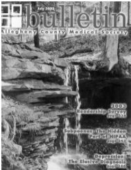 July 2003 Bulletin - Allegheny County Medical Society