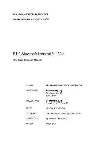 F1.2 Stavebně-konstrukční část - Jihomoravský kraj