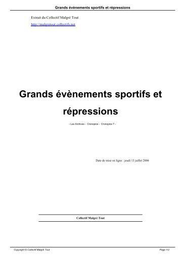 Grands évènements sportifs et répressions - Collectif Malgré Tout ...