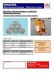 Diamantwerkzeuge / Diamond tools WAKRA - Wakra Maschinen ...