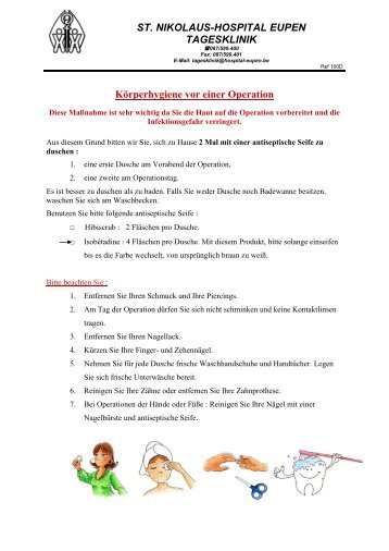 Körperhygiene vor einer Operation - St. Nikolaus-Hospital Eupen