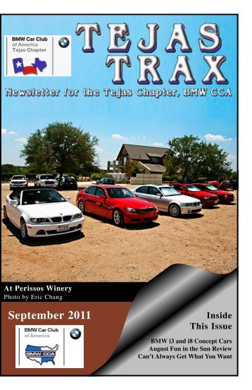 September 2011 - the Tejas Chapter, BMW CCA