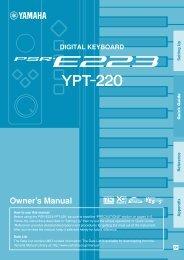 PSR-S950/S750 Reference Manual - Yamaha