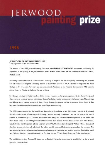 JERWOOD PAINTING PRIZE 1998 - Jerwood Space