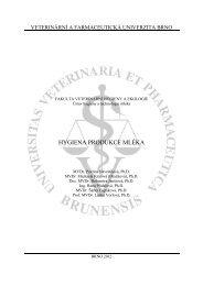 Hygiena produkce mléka - Veterinární a farmaceutická univerzita Brno