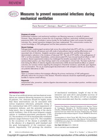 Measures to prevent nosocomial infections during mechanical ... - IQG