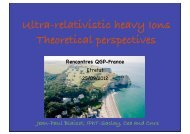 Ultra-relativistic heavy Ions Theoretical perspectives Rencontres ...