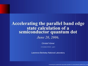 Accelerating the parallel band edge state calculation of a ...