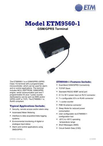 Model ETM9560-1 GSM/GPRS Terminal - ETM Mätteknik AB
