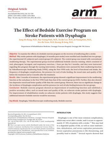 The Effect of Bedside Exercise Program on Stroke Patients with ...