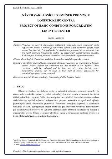 Návrh základních podmínek pro vznik logistického centra