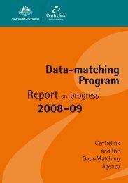 Data-matching Program - Report on progress 2008-09