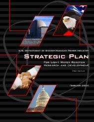 U.S. Department of Energy/Nuclear Power Industry Strategic Plan for ...