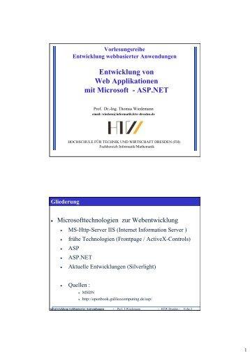 Entwicklung von Web Applikationen mit Microsoft - ASP.NET