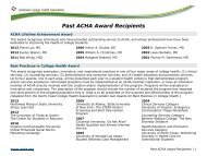 Past ACHA Award Recipients - American College Health Association