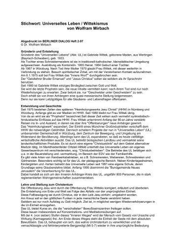 Stichwort: Universelles Leben / Wittekismus von Wolfram Mirbach