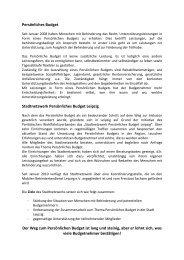Persönliches Budget Stadtnetzwerk Persönliches ... - BBW Leipzig