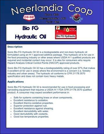 Description Sonic Bio FG Hydraulic Oil 32 is a ... - Neerlandia Co-op