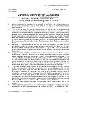 Tender Form M.W 4 & 7 - Municipal Corporation Jalandhar