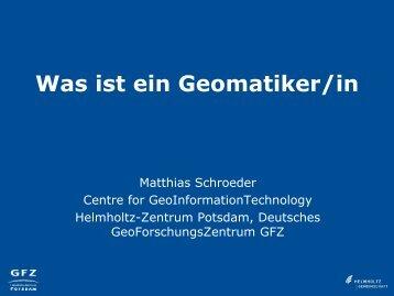 Was ist ein Geomatiker/in