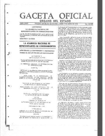LEY No.5 DE 26-10-1977 POR LA CUAL SE APRUEBA LA - Acnur