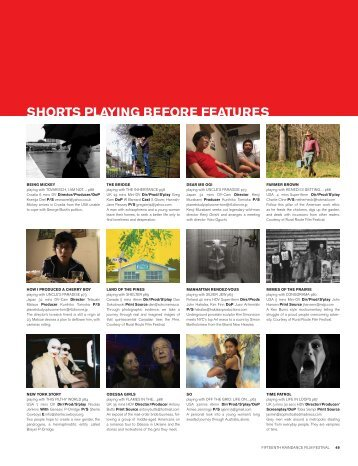 SHORTS PLAYING BEFORE FEATURES - Raindance Film Festival