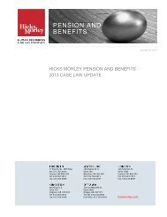 Hicks Morley Pension and Benefits 2013 Case Law Update