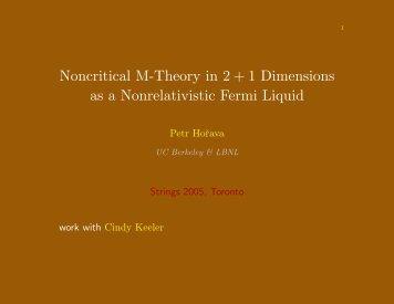 Noncritical M-Theory in 2 + 1 Dimensions as a Nonrelativistic ... - IPMU