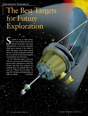 The Best Targets for Future Exploration - University of Arizona