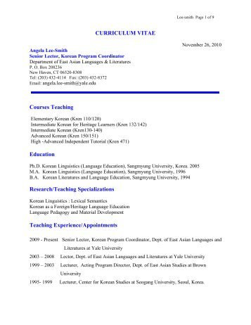 Cv angela Lee-Smith - East Asian Languages and Literatures ...