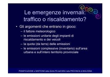 Le emergenze invernali: traffico o riscaldamento? - Aria.provincia ...