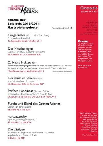 Stücke der Spielzeit 2013/2014 Gastspielangebote