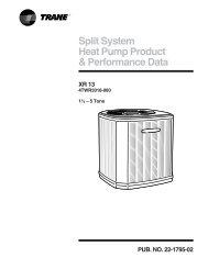Trane Split System Heat Pump Product and Performance Data XR ...