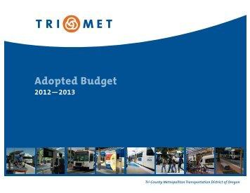 Adopted Budget FY12-13 - TriMet