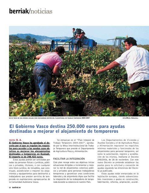 El Gobierno Vasco destina 250.000 euros para ayudas destinadas a ...