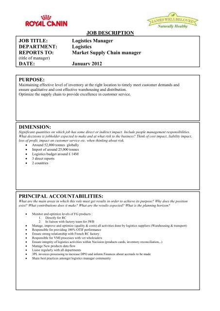 Royal canin Global - JOB DESCRIPTION - Crown Pet Foods