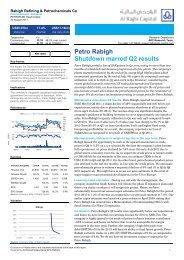 Petro Rabigh Shutdown marred Q2 results - Al Rajhi Capital