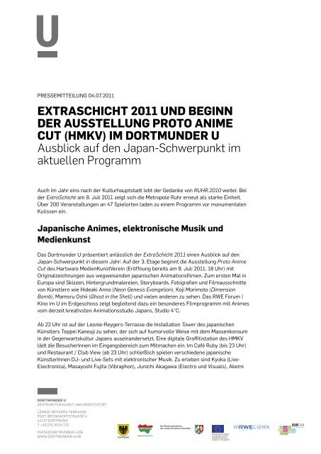Pressemitteilung 04.07.2011 - Dortmunder U