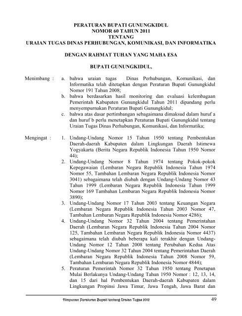 peraturan bupati gunungkidul nomor 60 tahun 2011 tentang