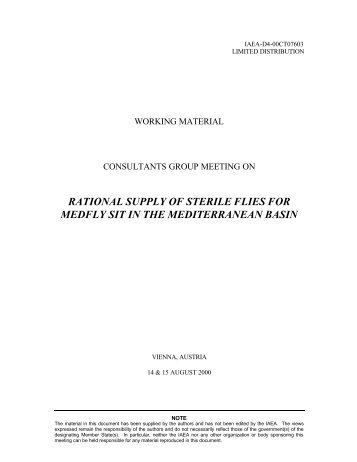 rational supply of sterile flies for medfly sit in the mediterranean basin